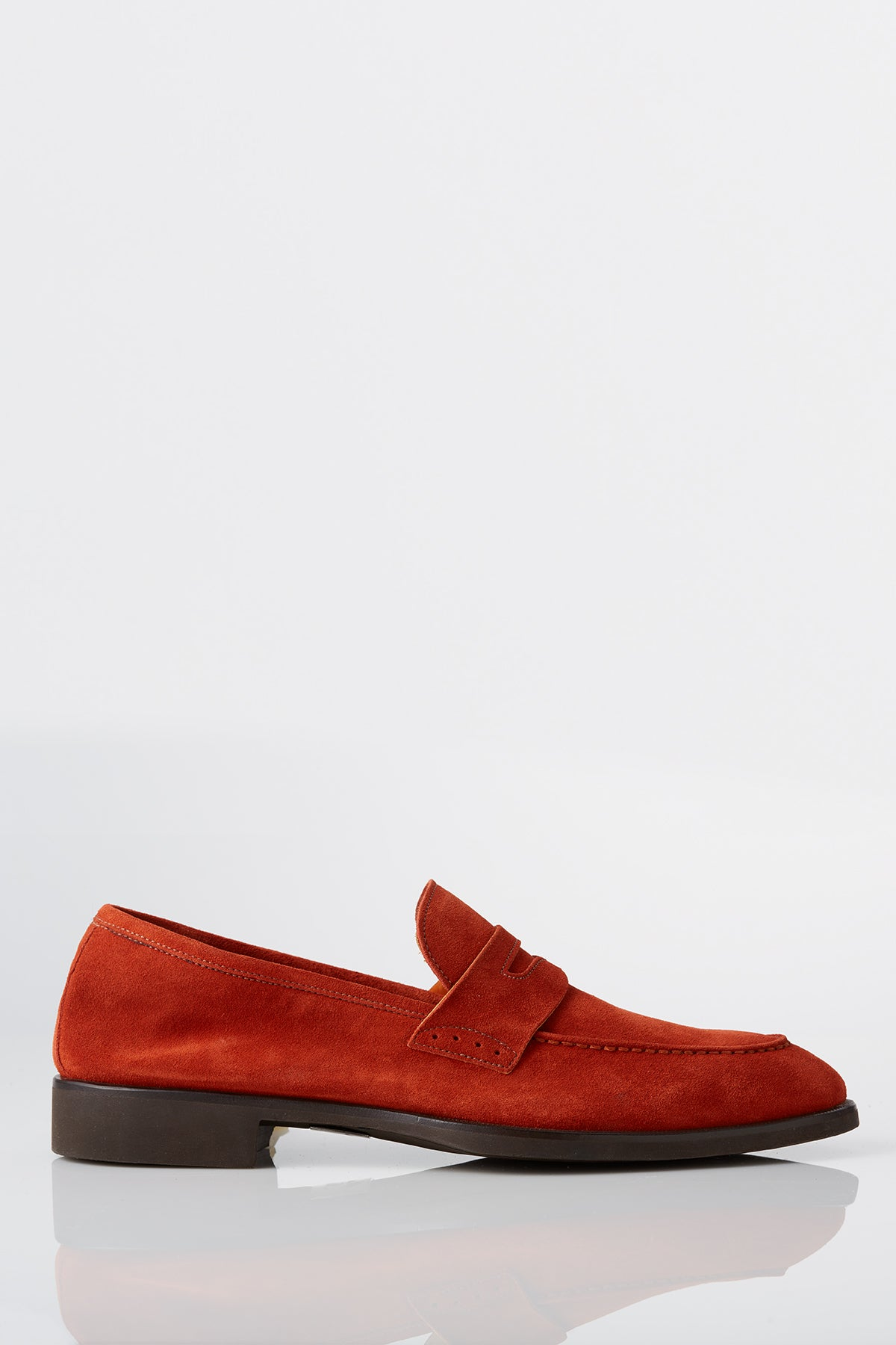 David August Suede Penny Loafer in Burnt Orange Di Bianco