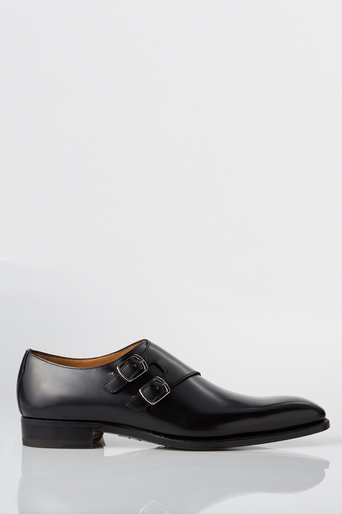 David August Leather Double Monk-strap Shoes in Black Di Bianco