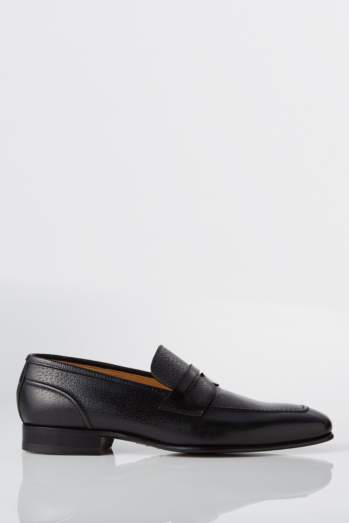 David August Leather Penny Loafer in Black Di Bianco