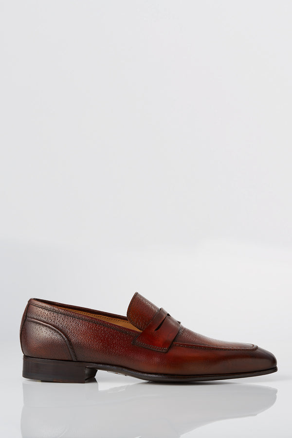 David August Leather Penny Loafer in Whiskey Di Bianco
