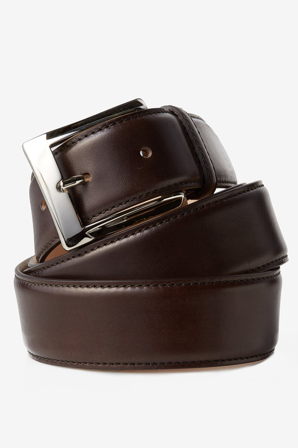 David August Genuine Calfskin Belt in Dark Brown Di Bianco