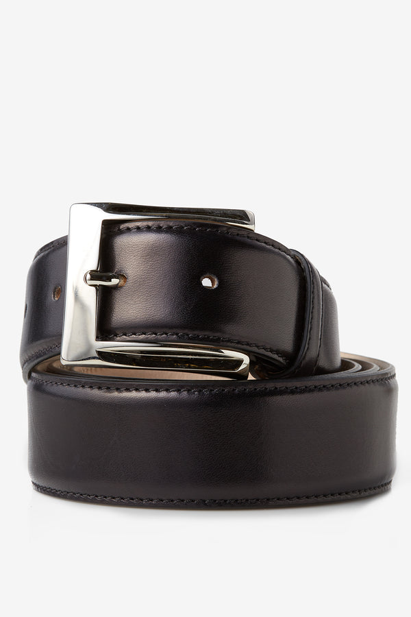 David August Calfskin Belt in Black Di Bianco
