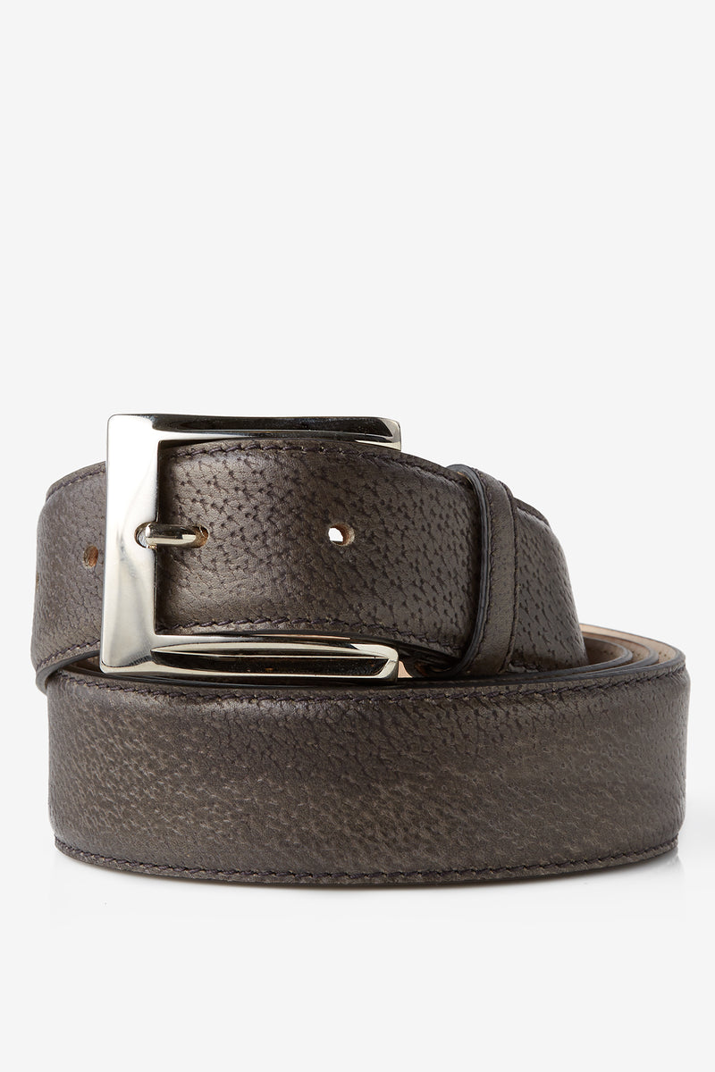 David August Genuine Calfskin Belt in Peccari Graphite Di Bianco