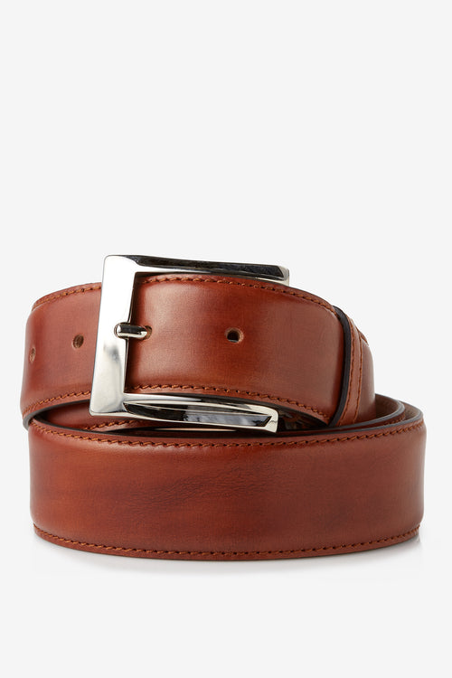 David August Genuine Calfskin Belt in Whiskey Brown Di Bianco