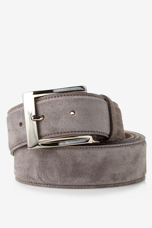 David August Genuine Velour Belt in Peltro Grey Di Bianco