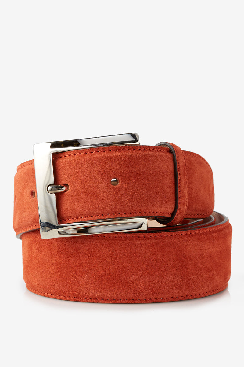 David August Genuine Velour Belt in Burnt Orange Di Bianco