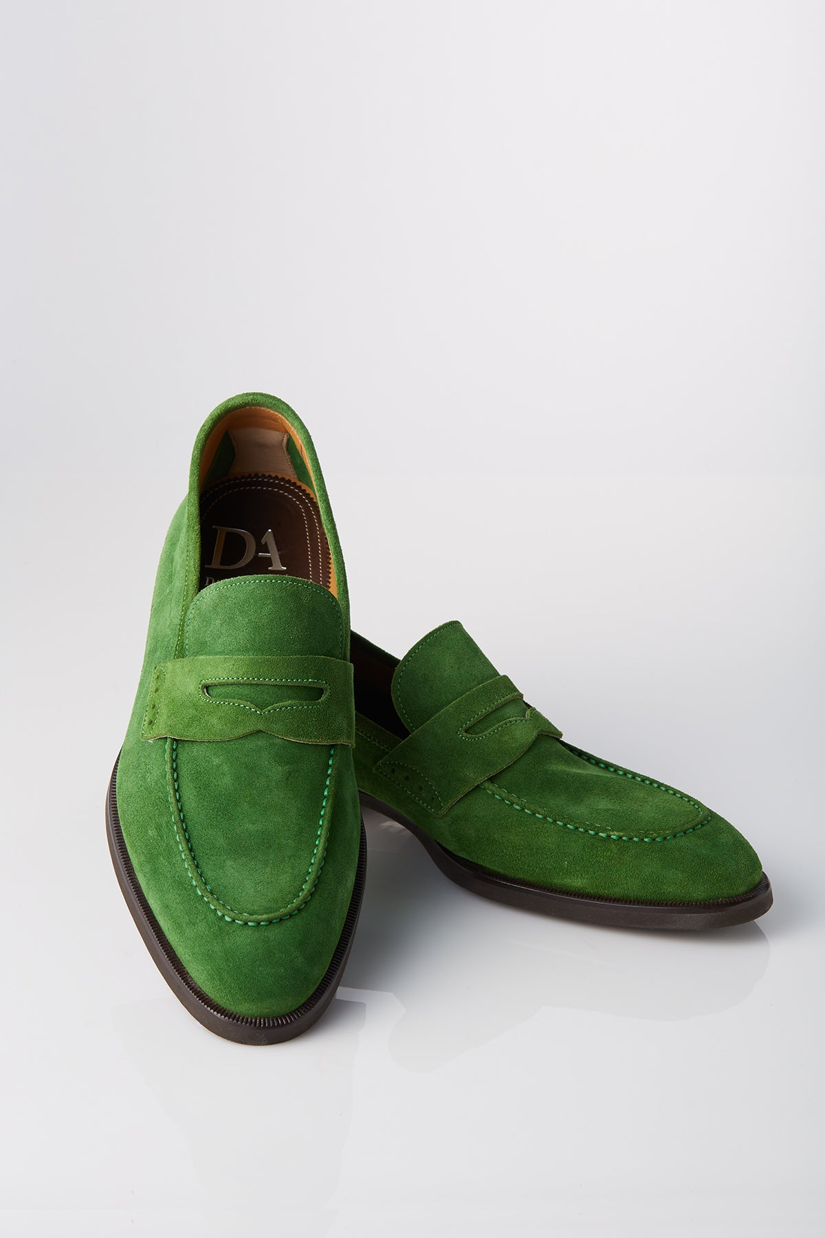 David August Suede Penny Loafer in Sport Green Di Bianco