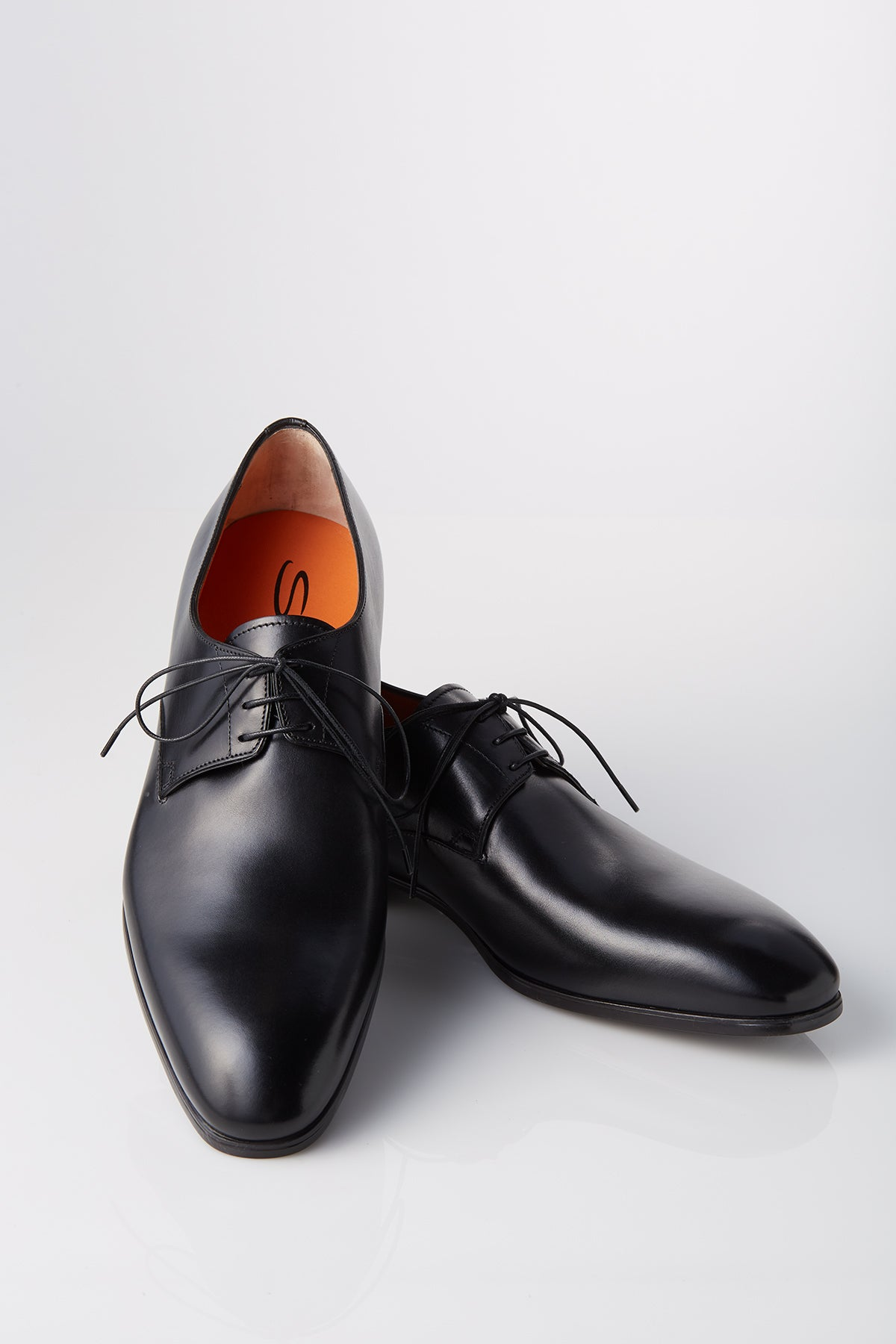 Santoni Leather Lace-Up Derby in Black