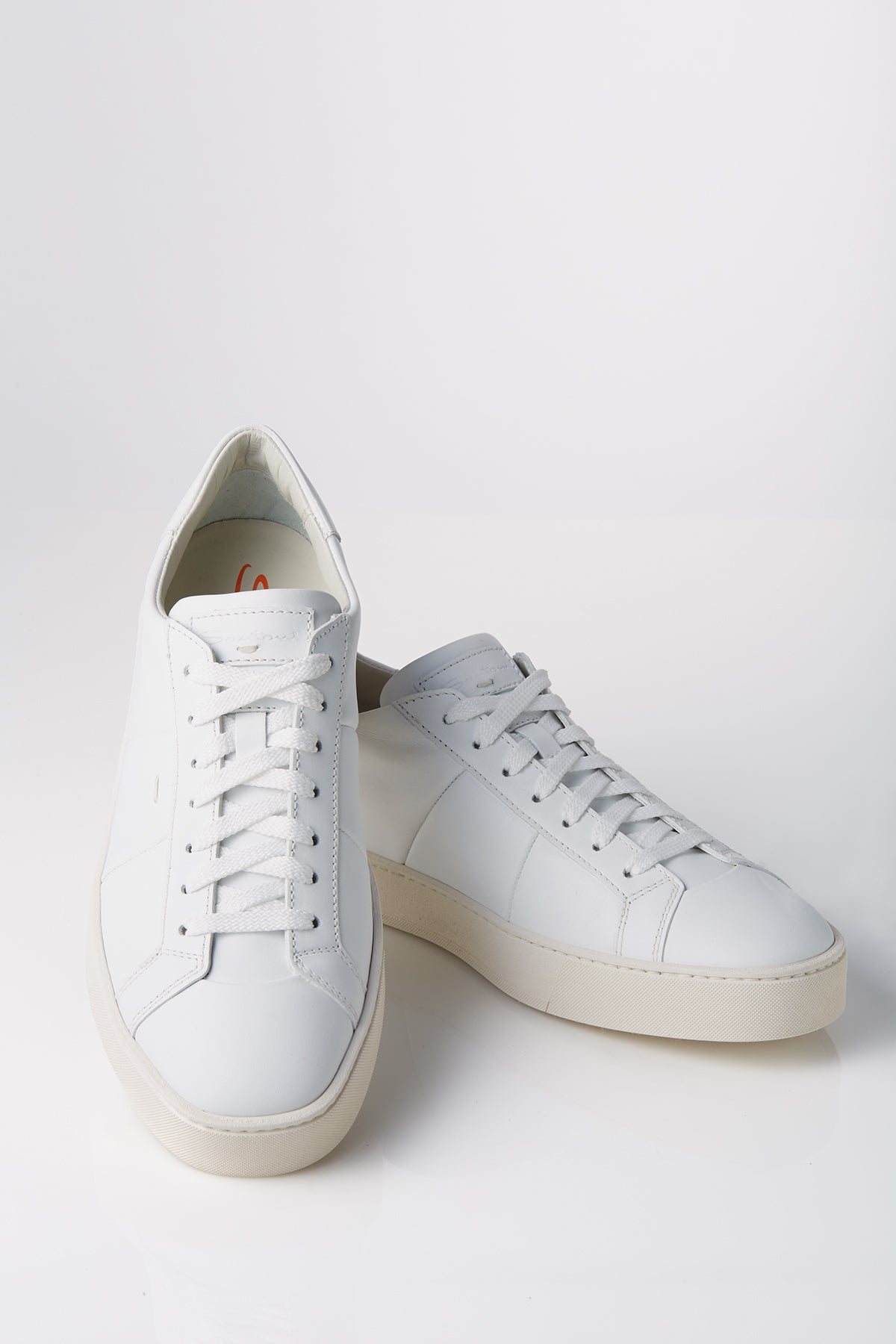Santoni Leather Low-Top Sneaker in White