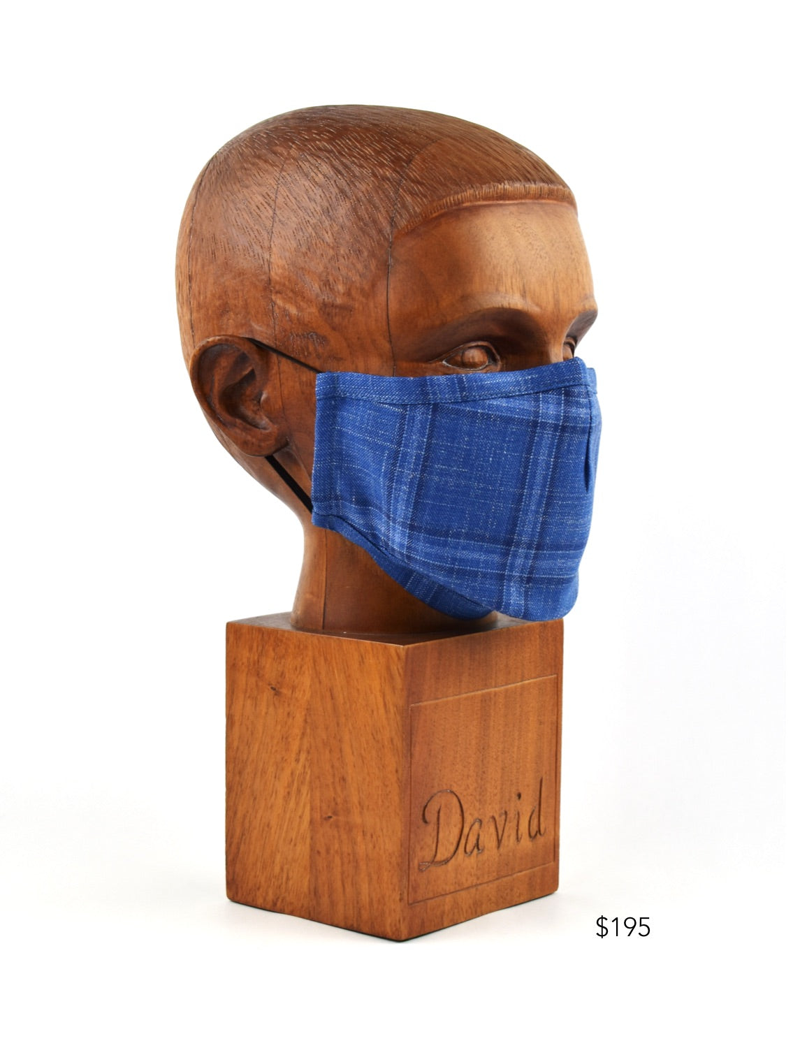 Premium Blue Windowpane Pinstripe Cloth Face Mask