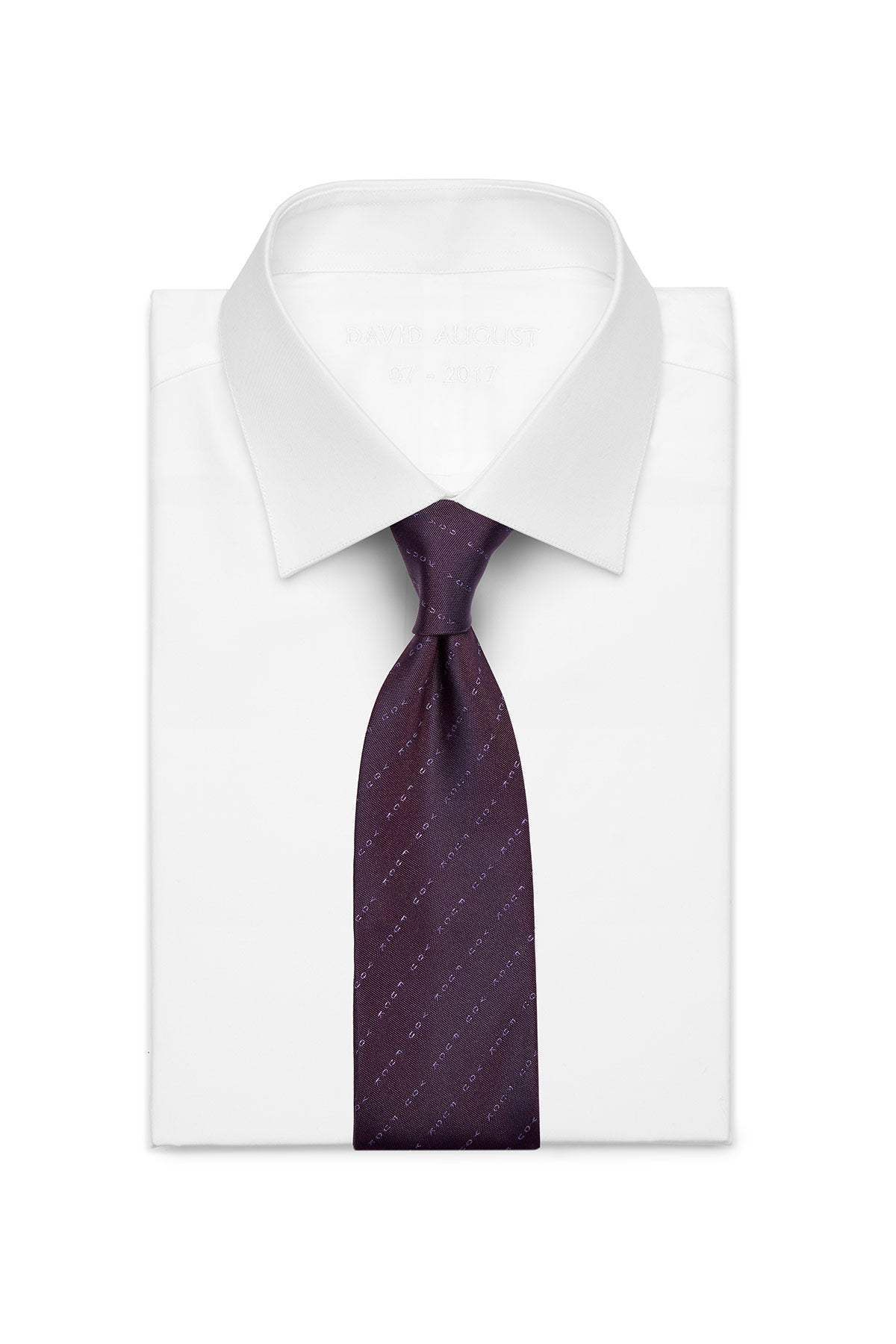 David August Silk Woven 'Eff You' Neck in Purple with Tonal Pinstripe