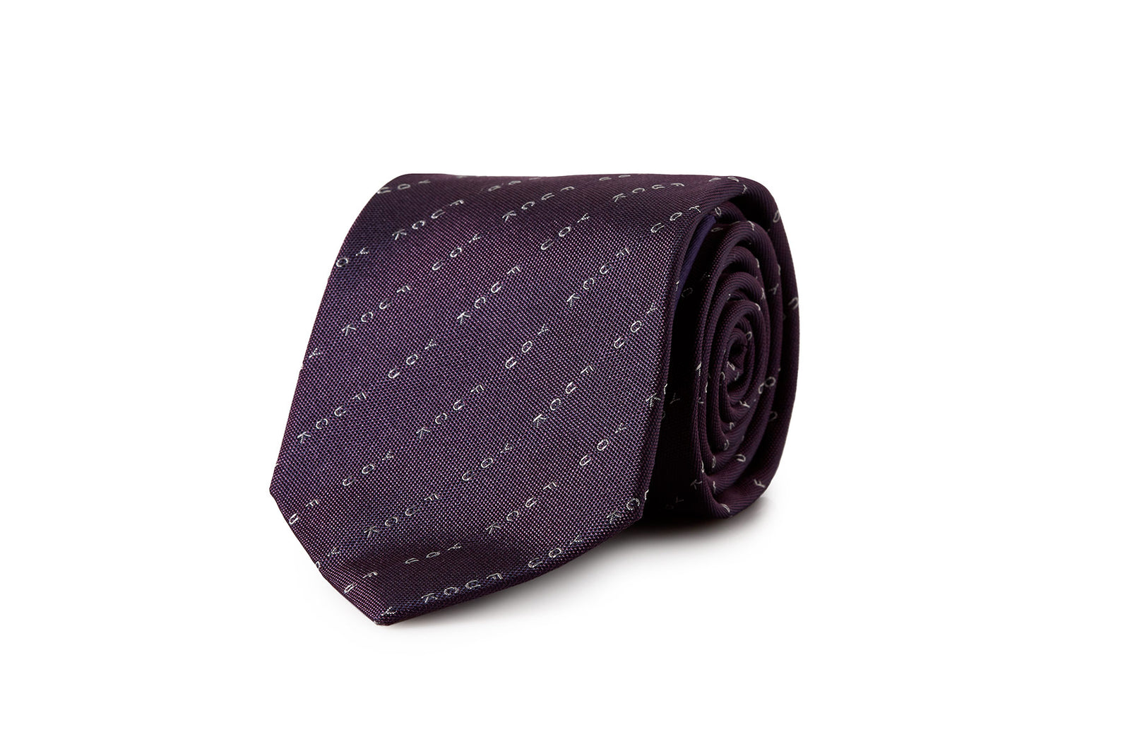 David August Silk Woven 'Eff You' Neck in Purple with White Pinstripe