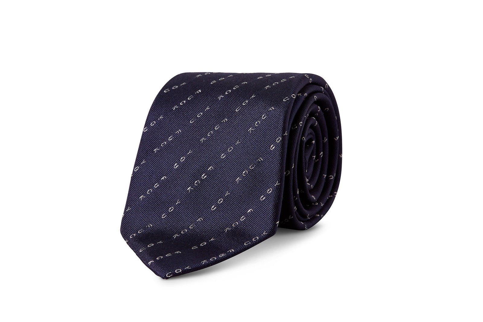 David August Silk Woven 'Eff You' Neck in Navy with White Pinstripe