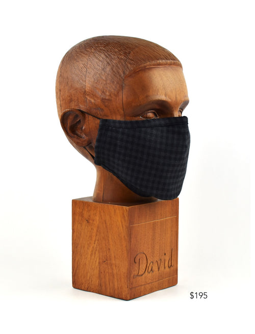 Premium Grey and Black Check Cloth Face Mask