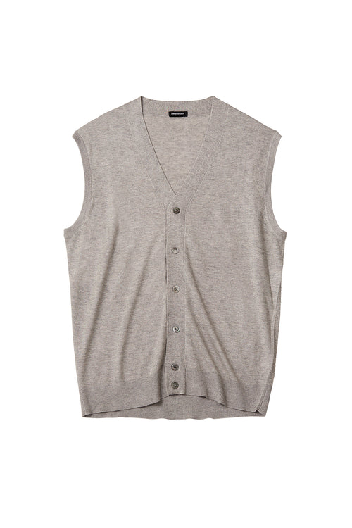 Silk Cashmere Buttoned Sweater Vest - Skyfall Silver