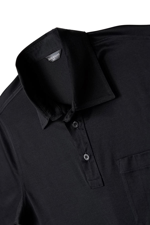 Cotton Black Polo - David August