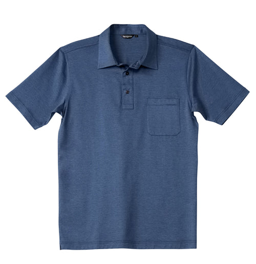 Luxury Mercerized Cotton Polo in Dark Heather Blue