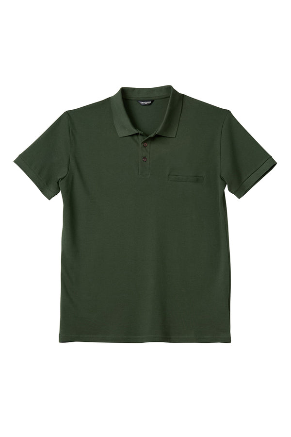 Luxury Pima Pique Cotton Polo in Forest Green