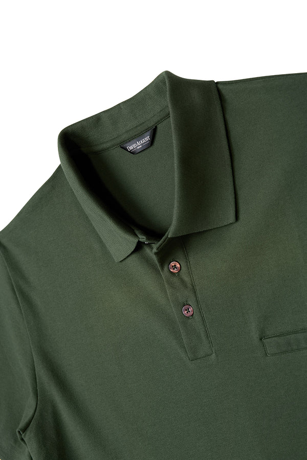 David August Pima Pique Cotton Polo in Forest Green