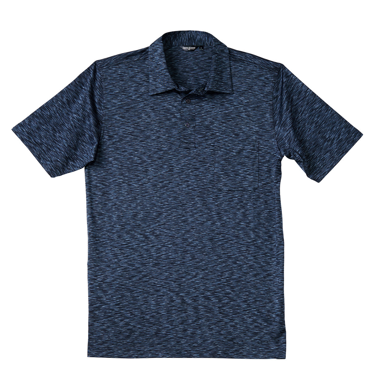 Luxury Mercerized Cotton Polo in Mosaic Heather Navy
