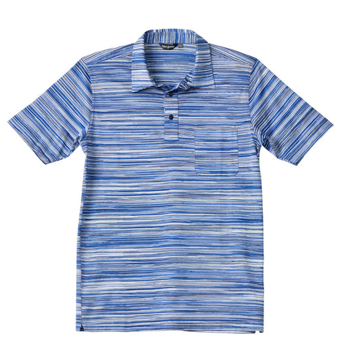 Luxury Mercerized Cotton Polo in Mosaic Blue Stripe