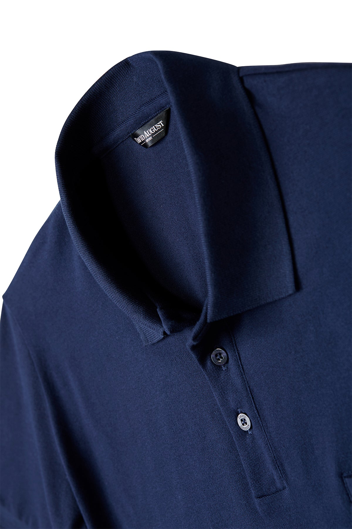 David August Pima Pique Cotton Polo in Navy