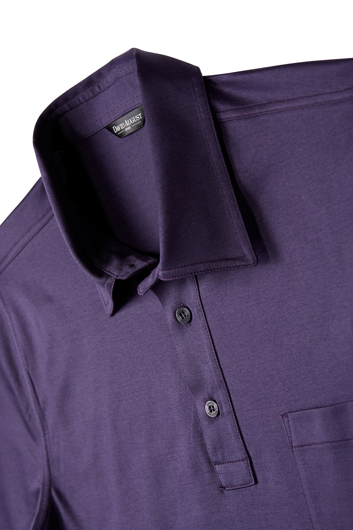 David August Mercerized Cotton Polo in Plum