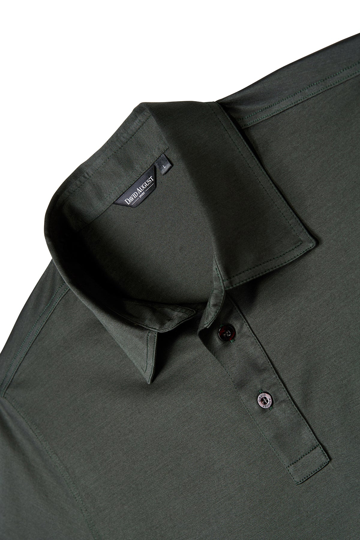 David August Mercerized Cotton Olive Polo