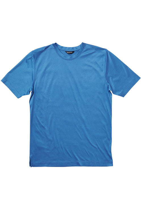 Luxury Mercerized Cotton T-Shirt Crew Neck in Sea Blue