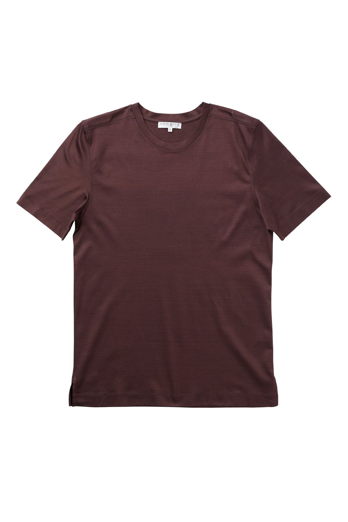 Luxury Mercerized Cotton T-Shirt Crew Neck in Brown