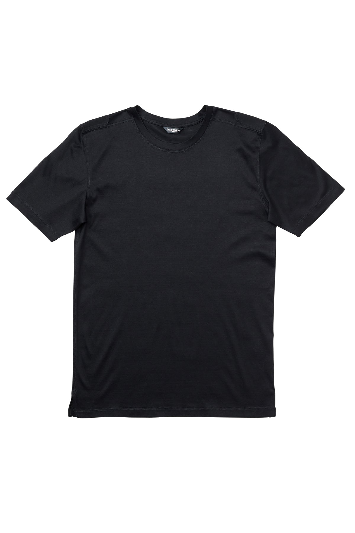 Luxury Mercerized Cotton T-Shirt Crew Neck in Black