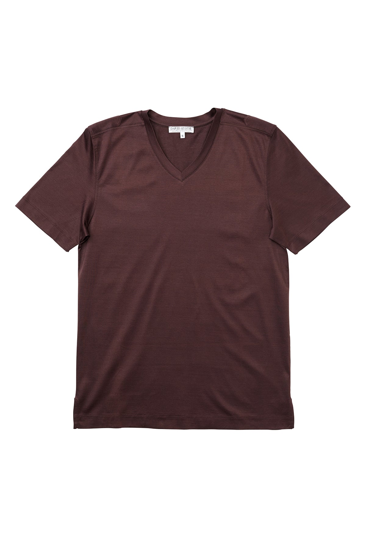 Luxury Mercerized Cotton V-Neck T-Shirt in Brown