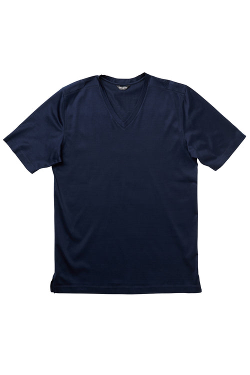 Luxury Mercerized Cotton V-Neck T-Shirt in Navy