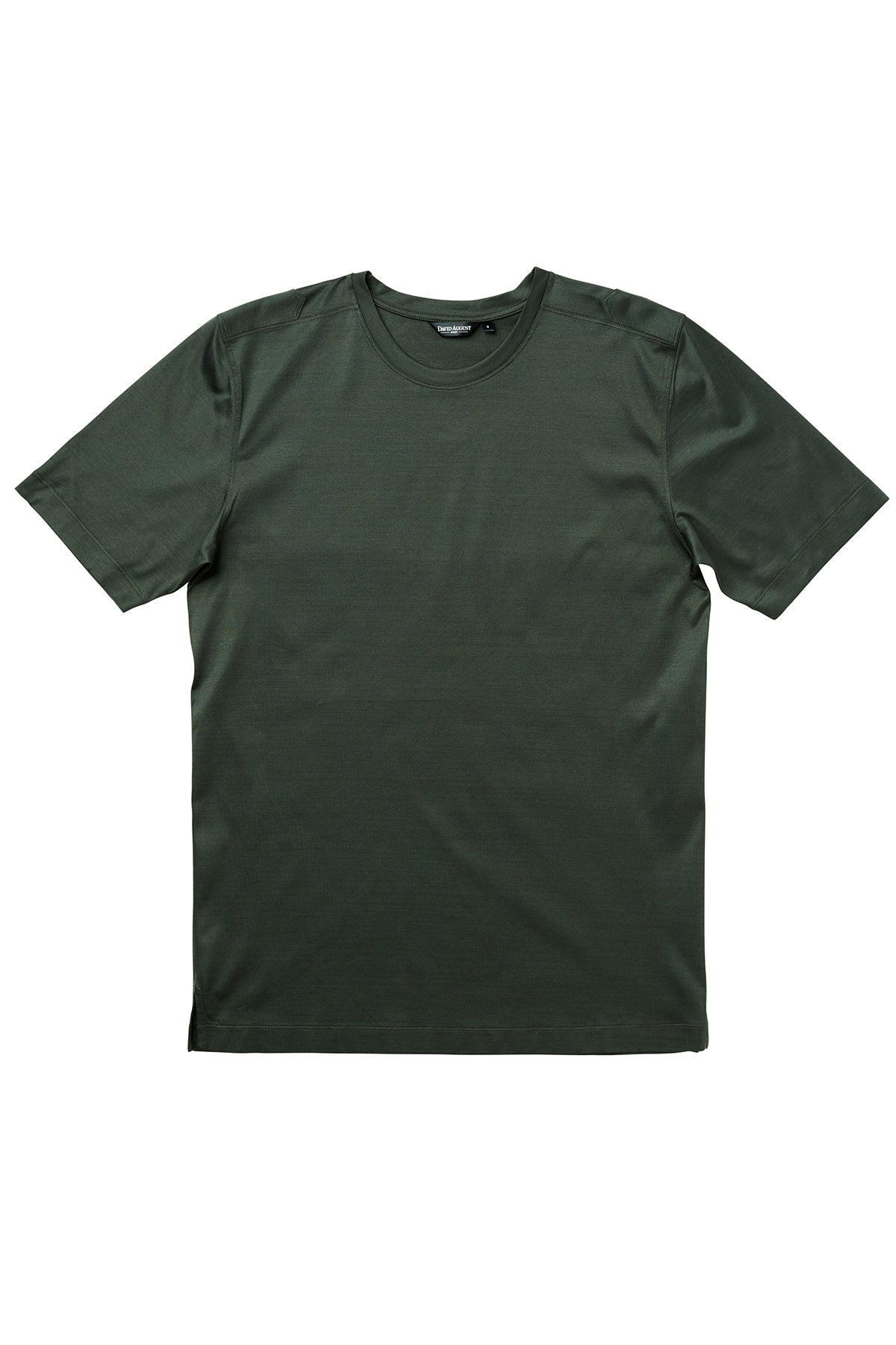Luxury Mercerized Cotton T-Shirt Crew Neck in Olive