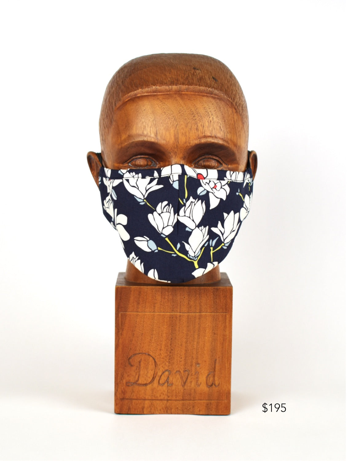 Premium Navy with White Floral Cloth Face Mask