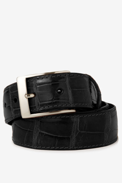 Black Glossy Alligator Belt