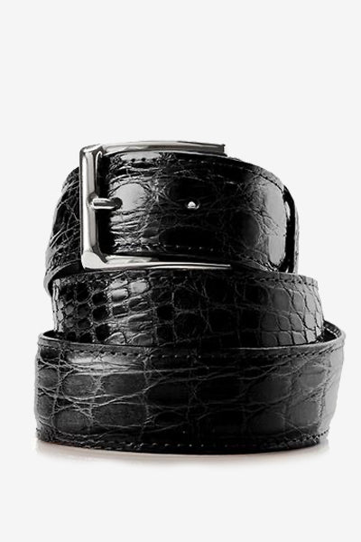 Black Glossy Crocodile Belt
