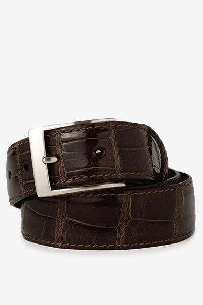 Brown Glossy Alligator Belt