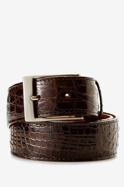 Brown Glossy Crocodile Skin Belt