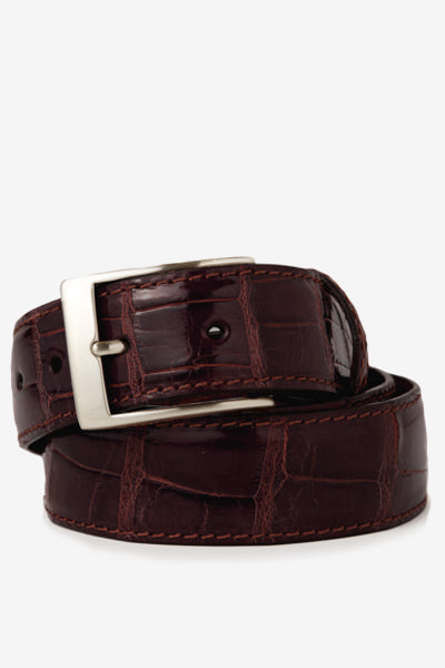 Burgundy Glossy Alligator Belt