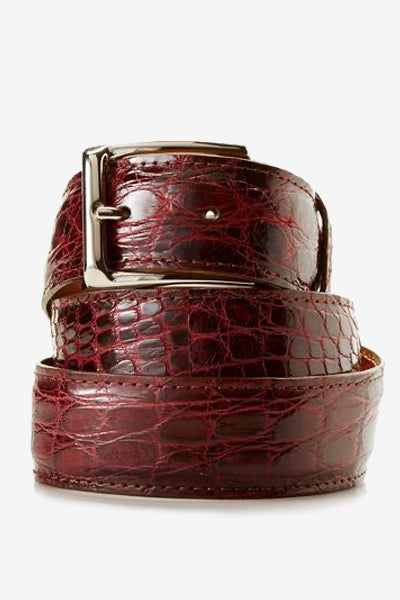 Burgundy Glossy Crocodile Skin Belt