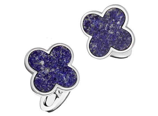 Blue Lapis Gemstone Four Leaf Clover Cufflinks