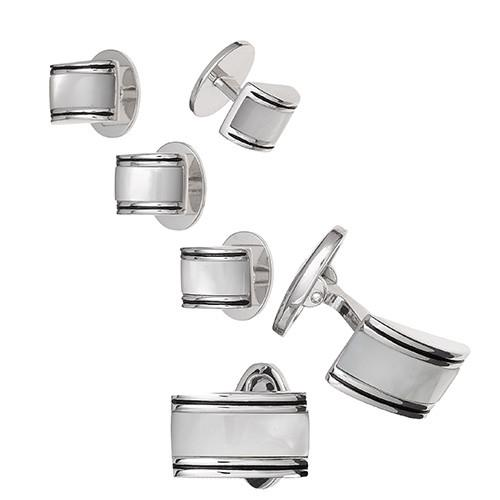 Curved Rectangular Mother of Pearl Tuxedo Formal Set - Cufflinks and Studs