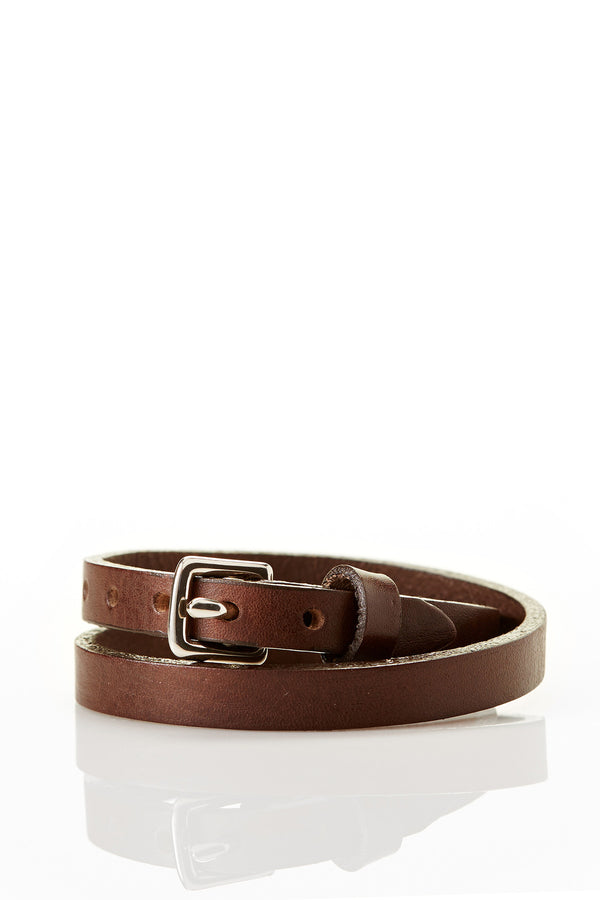 Double Wrap Genuine Leather Bracelet - Brown