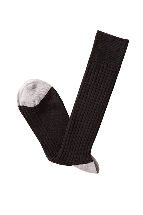 David August Socks - Black Socks with Light Grey Toes & Heel