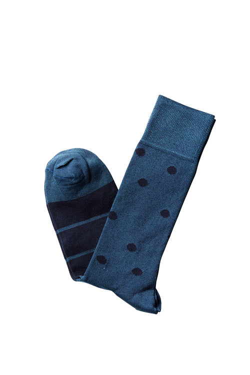 David August Socks - Petro Blue and Navy Polka Dots Socks