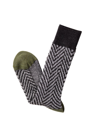 David August Socks - Oatmeal with Green & Light Blue Accents