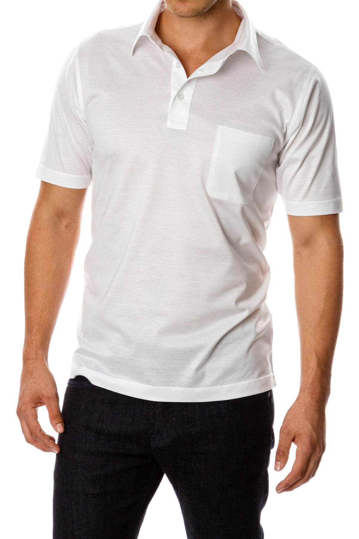 David August Mercerized Cotton White Polo