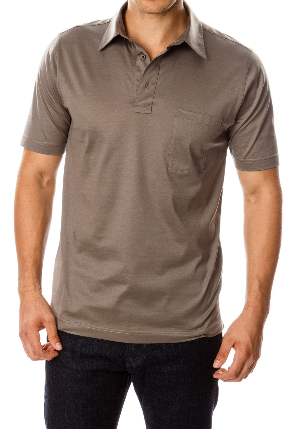 Mercerized Cotton Dark Tan Polo