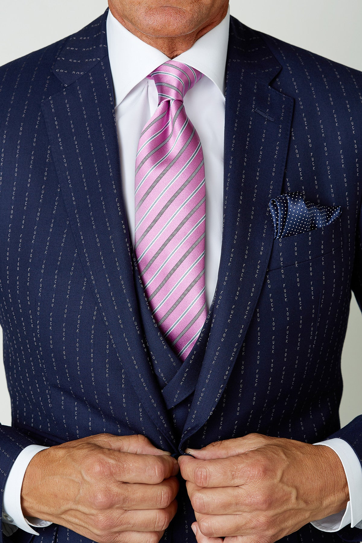 Limited-Edition 'Eff You' Pinstripe 3-Piece Wool Suit Made-to-Measure